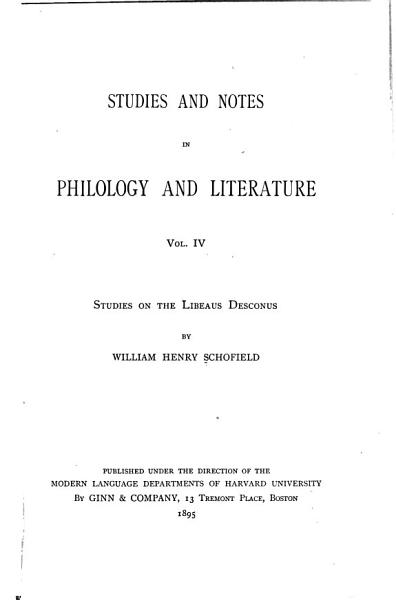 Download Studies and Notes in Philology and Literature Book
