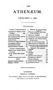 The Athenaeum: A Magazine of Literary and Miscellaneous Information ..., Volume 1
