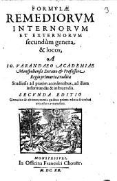 Ioannis Varandaei Formulae remediorum internorum et externorum secundum genera et locos