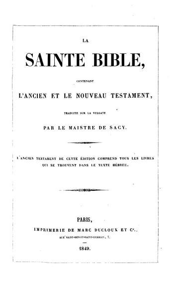 Download La Sainte Bible  etc Book