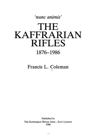 The Kaffrarian Rifles  1876 1986 PDF