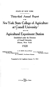 Report of the New York State College of Agriculture at Cornell University, Ithaca, and of the Cornell University Agricultural Experiment Station: Issues 33-41