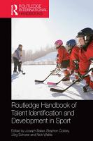 Routledge Handbook of Talent Identification and Development in Sport PDF