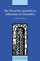 The Text of the Apostolos in Athanasius of Alexandria PDF