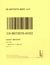 California. Court of Appeal (2nd Appellate District). Records and Briefs: B072676, Appellant's Opening, 02