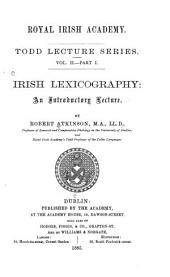 Irish Lexicography: An Introductory Lecture, Volume 1