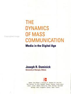 The Dynamics of Mass Communication Book