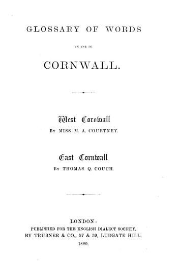 Glossary of Words in Use in Cornwall PDF