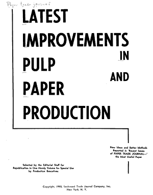 Latest Improvements in Pulp and Paper Production PDF