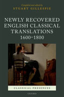 Newly Recovered English Classical Translations  1600 1800 PDF