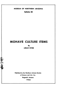 Mohave Culture Items PDF
