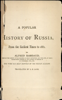 The History of Russia from the Earliest Times to 1877 PDF