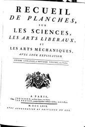 RECUEIL DE PLANCHES, SUR LES SCIENCES, LES ARTS LIBÉRAUX, ET LES ARTS MÉCHANIQUES, AVEC LEUR EXPLICATION.: SEPTIEME VOLUME, 259 Planches, Volume7