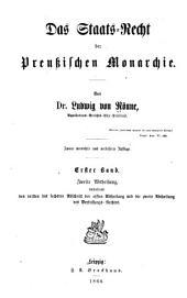 Das Staats-Recht der Preussischen Monarchie: Band 1,Ausgabe 2