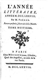 L' année littéraire: 1778,8, Volume1778,Numéro8