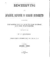 Beschrijving der Javaansche, Balineesche en Sasaksche handschriften, aangetroffen in de nalatenschap van H.N. Van der Tuuk, en door hem vermaakt aan de Leidsche Universiteitsbibliotheek: Volume 1