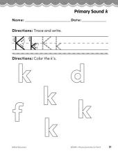 Pre-Kindergarten Foundational Phonics Skills: Primary Sound k