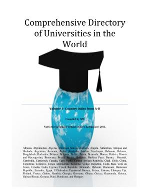 Comprehensive Directory of Universities in the World Volume 1  Country index from A H