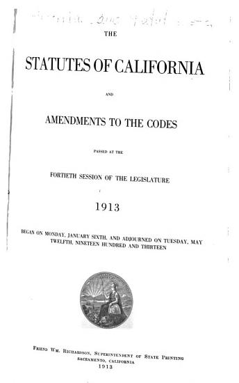 The Statutes of California and Amendments to the Codes PDF