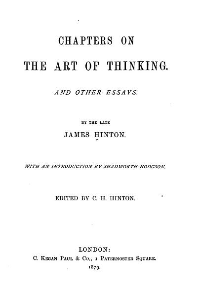 Chapters on the Art of Thinking PDF