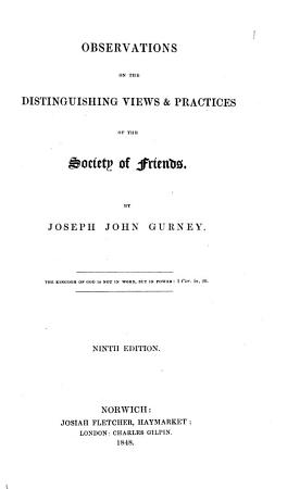 Observations on the Distinguishing Views   Practices of the Society of Friends PDF