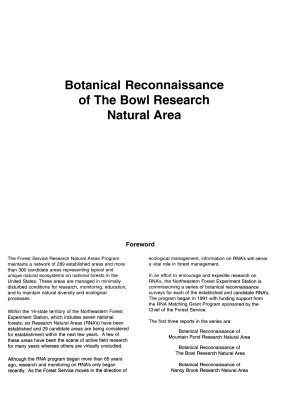 Botanical Reconnaissance of the Bowl Research Natural Area