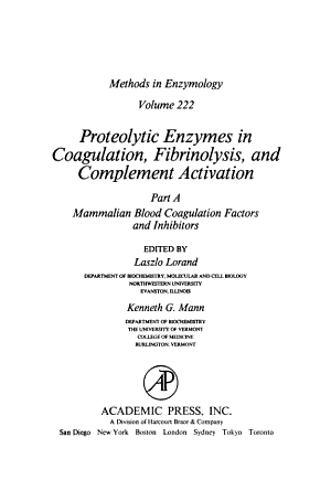 Proteolytic Enzymes in Coagulation  Fibrinolysis  and Complement Activation PDF