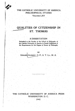 Qualities of Citizenship in St  Thomas PDF
