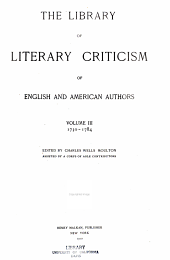 The Library of Literary Criticism of English and American Authors: Volume 3
