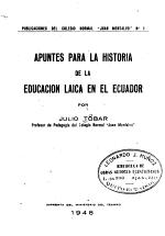Apuntes para la historia de la educaci  n laica en el Ecuador PDF