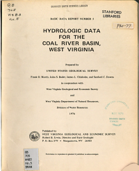 Hydrologic Data for the Coal River Basin  West Virginia Book
