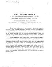 Iudicia quinque ordinum Universitatis Fridericiae Guilelmiae Rhenanae de litterarum certaminibus anni ... facta novaeque quaestiones anno ... propositae: 1836