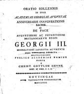 Oratio solennis ... de pace ... Regis Georgii III. mod ratione ... orbi terrarum reddita, etc