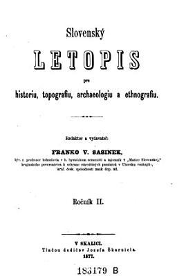 Slovensky Letopis pre historiu topografiu  archaelogiu PDF