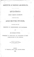 Questions Upon Various Subjects Connected with Architecture PDF