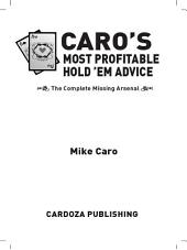 Caro's Most Profitable Hold'em Advice