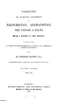 Narrative of Various Journeys in Balochistan  Afghanistan  the Panjab  and Kal  t  During a Residence in Those Countries PDF
