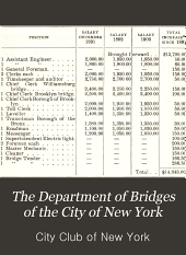 The Department of Bridges of the City of New York: A statement of facts