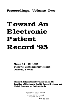 Toward an Electronic Patient Record '95