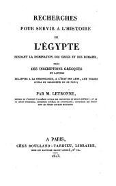 Recherches pour servir à l'histoire de l'Égypte pendant la domination des Grecs et des Romains