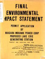 Lake Erie Generating Station, Pomfret and Sheridan, Permit Application, Niagara Mohawk Power Group