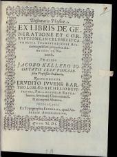 Disp. phys. ex Libris de generatione et corruptione
