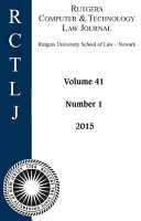 Rutgers Computer   Technology Law Journal  Volume 41  Number 1   2015 PDF