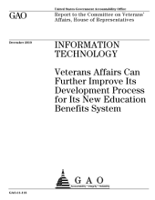 Information Technology (IT): Veterans Affairs Can Further Improve Its Development Process for Its New Education Benefits System