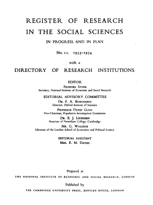 Register of Research in the Social Sciences and Directory of Research Institutions PDF