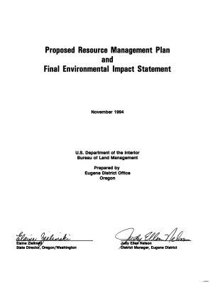 Eugene District Resource s  Management Plan  RMP   Lane County  Linn County  Douglas County  Benton County PDF