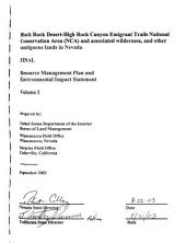 Black Rock Desert-High Rock Canyon Emigrant Trails National Conservation Area and Associated Wilderness, and Other Contiguous Lands in Nevada, Resource Management Plan: Environmental Impact Statement, Volume 1