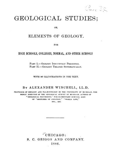 Geological Studies  Or  Elements of Geology PDF