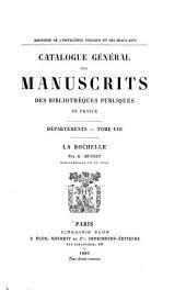 Catalogue général des manuscrits des bibliothèques publiques de France: Volume8