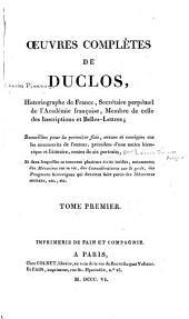 Œuvres complètes de Duclos: Volume1